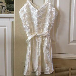 White Satin petals nightgown